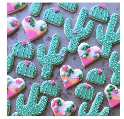 cactus birthday cookies